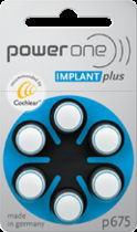 Power One Implant Plus P675 batteries for cochlear implants