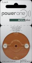 Power One Accu Plus 312 Rechargeable Hearing Aid Batteries
